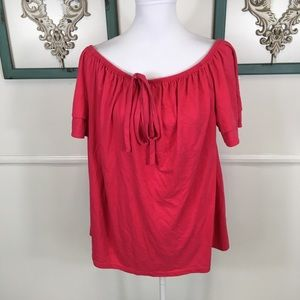 Lane Bryant Red Pink Tie Front Blouse Womens 18/20